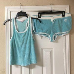 Victoria's Secret Baby Blue Terry Cloth Short Set